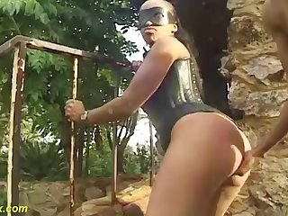 beamy mamma african mask milf in hot corset gets beamy disgraceful bushwa outdoor fucked
