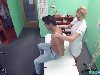 Nurse loves to get fucked on the hospital bed by her patient