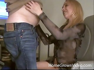 Fat guy everywhere a small dick gets a blowjob and an assjob from a beauteous