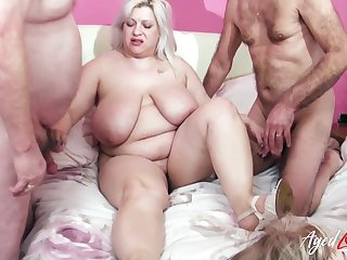 Fucking together with wet mature holes drilling in busty to a great extent old ladies video