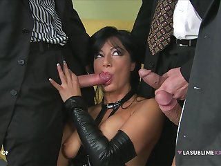 Kinky tie the knot Priscilla Salerno enjoys getting double penetrated