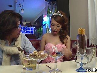 Lewd Japanese lady Mai Takizawa needs no bandeau but good pussy fingering