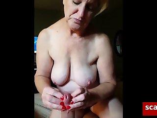 Amateur, Blonde, Granny, Handjob,