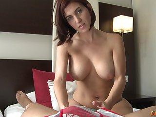 Busty MILF Valeria Erotic gives spot on target blowjob titjob combo before fucking