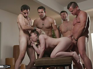 Mart woman shared by ragtag in rough gang bang scene