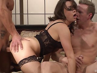 Cock loving wife Chanel Preston fucked by a hubby plus his boss