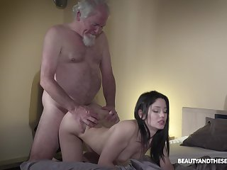 Old grey bearded gets woken fly to pieces sex and what a sexy mistress he's got