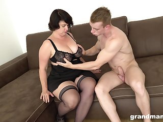 Mature obese woman picks up young guy of cash