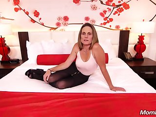 Skinny brunette milf with saggy tits, Judith, is riding a hard white cock be beneficial to a camera