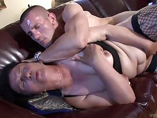 Ugly grown-up whore fucks a certain that's younger than her and she's so nasty