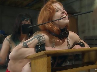 Nice ass redhead moans during rough pussy poking and caning