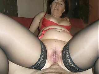Dirty granny gets a surprise anal and creampie