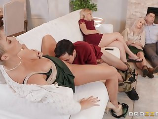 Chunky pain in the neck mature suits her sexual needs during a house orgy