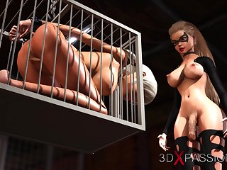 Hot sex! 3d dickgirl bangs a sexy girl slave in the dungeon
