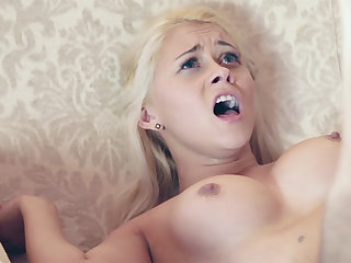 Youthful female compelled to forthright connected with her taut vag