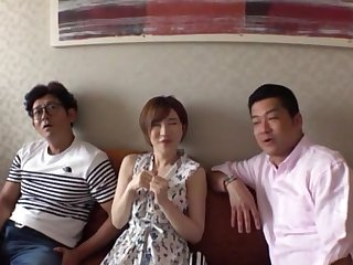 Kinky Japanese MMF threesome with adorable chick Satomi Yuria