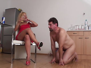 Milf lady Bianca has fun spitting on slave Joschi's food coupled with drink